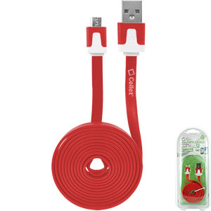 DAMICROHRD - Cellet 4 Ft. Flat Wire Micro USB Charging/Data Cable -Red