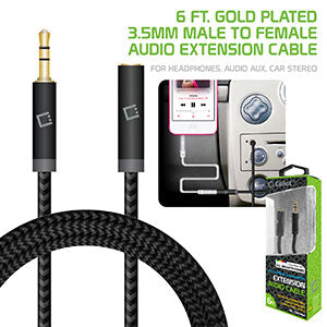 CN35EXT6 - Cellet 6 ft. Gold Plated 3.5mm Male to Female Audio Extension Cable for Headphones, Audio Aux, Car Stereo