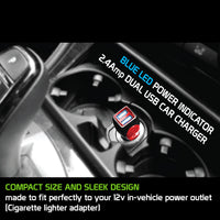 PMICROMS21BK - Cellet Rapid Charge 12W 2.4A Dual USB Car Charger with Micro USB Cable - Black