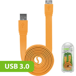 DAUSB30FOR - Cellet SuperSpeed USB 3.0 Type A to Micro-B Flat Cable - Orange