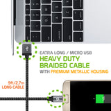 DAMICRO9 - Cellet Premium Braided & Metallic Housing 9 Ft. Micro USB Charging / Data Cable