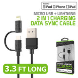 DAAPP5TK - Cellet 2 in 1 Micro USB + Lightning (Licensed by Apple, MFI Certified) Charging / Data Sync Cable - Black