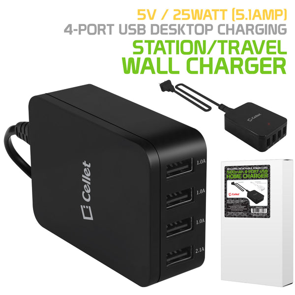 TCUSB4MOBK - Cellet 5V / 25Watt (5.1Amp) / 4 Port USB Desktop Charging Station - Travel Wall Charger - Black