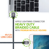 DAAPP5JBK - Cellet Apple Licensed 4 Ft, Lightning 8 Pin to USB Charging / Data Sync Cable - Black