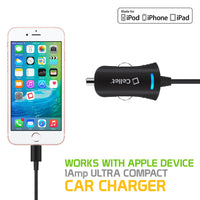 PAPP5GBK - Cellet Black Ultra Compact 5 Watt (1 Amp) Lightning 8 Pin Car Charger for iPhone 5, 5s, 5c, 6, 6 Plus, iPod Touch 5th Gen, iPod Nano 7th Gen (Apple MFI Certified)