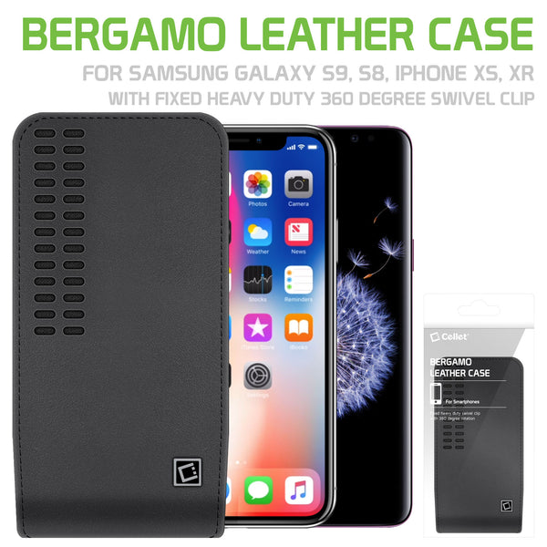 "LBERGAMOMD - Cellet Bergamo Premium Leather Case for Apple iPhone XR XS, 8, 7, 6 and Samsung Galaxy S9, S8, S7, S6, S5 with Fixed Heavy Duty 360 Degree Swivel ""HM"" Clip"