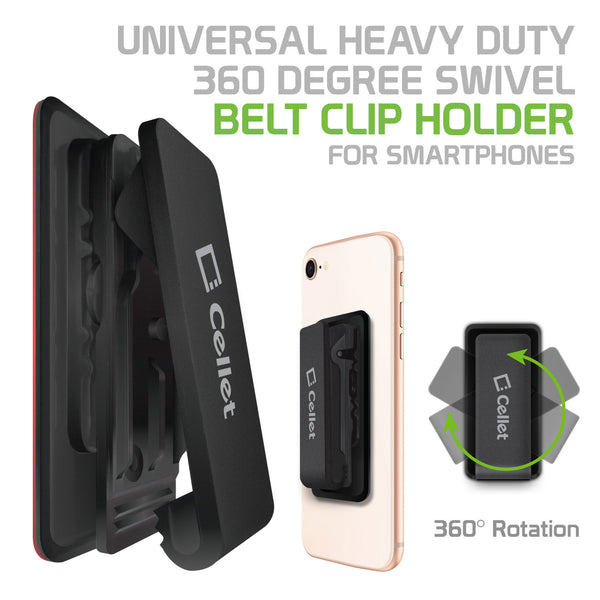 CLIPHDBK - Cellet Universal Heavy Duty 360 degree Swivel Belt Clip Holder for Smartphones