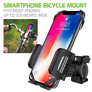 PHM400 - Bike Phone Mount, Cellet Universal Bicycle & Motorcycle Holder Mount with One Touch Arm Release Button and 360 Degree Rotating Cradle Compatible to iPhone XS Max, XS, XR, X, 8/8 Plus, Samsung Galaxy S10, S10 Plus, S10e, GPS and More