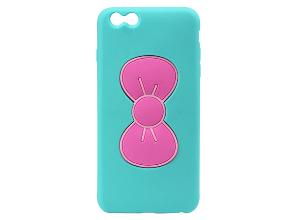 CCIPH6UBLP - Charming Sweet Bow Hybrid Phone Case for iPhone 6 Plus - Teal/Pink