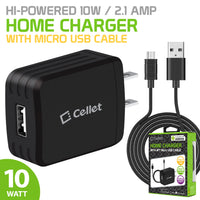 TCMICRO21GBK - CELLET Hi-Powered 10W / 2.1 Amp Home Charger (Micro USB cable included) - Black
