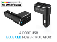 PUSB452BK - Cellet Universal 26W 5.2 Amp 4-Port Car Charger for Android and Apple Devices - Black
