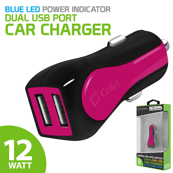 PUSBE21PK - Cellet Prism RapidCharge 12W 2.4A Dual USB Car Charger for Android and Apple Devices - Pink