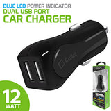 PUSBE21BK - Cellet Prism RapidCharge 12W 2.4A Dual USB Car Charger for Android and Apple Devices - Black