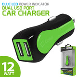 PUSBE21GR - Cellet Prism RapidCharge 12W 2.4A Dual USB Car Charger for Android and Apple Devices - Green