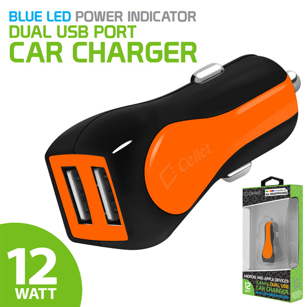 PUSBE21OR - Cellet Prism RapidCharge 12W 2.4A Dual USB Car Charger for Android and Apple Devices - Orange