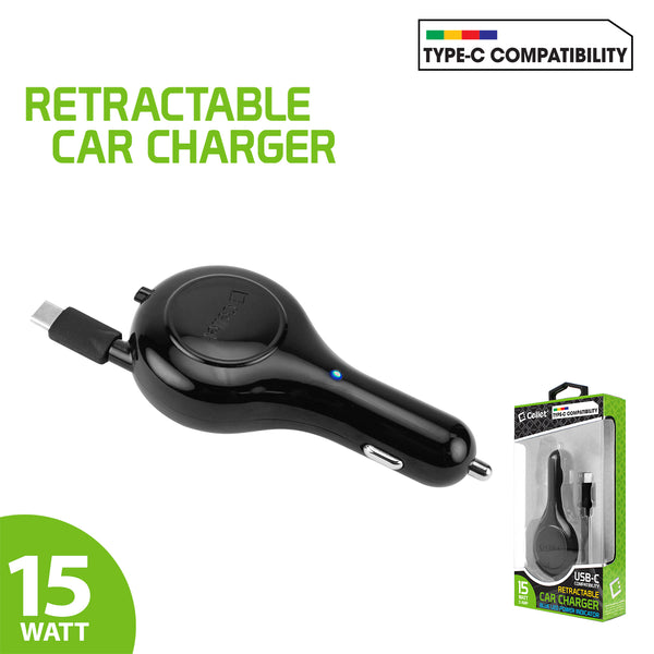 PUSBC30R - Cellet 3A / 15W USB Type-C Retractable Car Charger for LG G5, Nexus 5X, Nexus 6P, Nokia Lumia 950/950 XL, OnePlus 2, Samsung Galaxy Note 7
