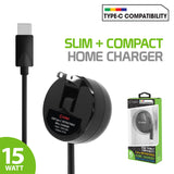 TCUSBCR30 - Cellet High Powered 3Amp / 15Watt USB Type-C Retractable Home Charger for Samsung Galaxy 10 10+ Note 10 Google Pixel 3 XL LG G5, Nexus 5X, Nexus 6P, Nokia Lumia 950/950 XL, OnePlus 2