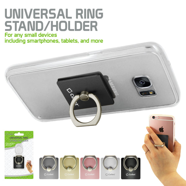 ACRINGBK - Cellet Universal Ring Stand/Holder for any Small Devices including Smartphones, Tablets, and More - Black