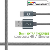 DCA420GY - Type-C Cable, Cellet 4ft (1.2m) Heavy Duty Nylon Braided USB-A to USB-C for HTC 10, LG G5, Nexus 5X/6P, LG V20, Samsung Galaxy Note 7 - Gray