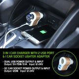 PUSBDC3AWT - Cellet 3 in 1 Car Charger with 2 USB Ports and 1 Car Socket Lighter Adapter - White/Gold