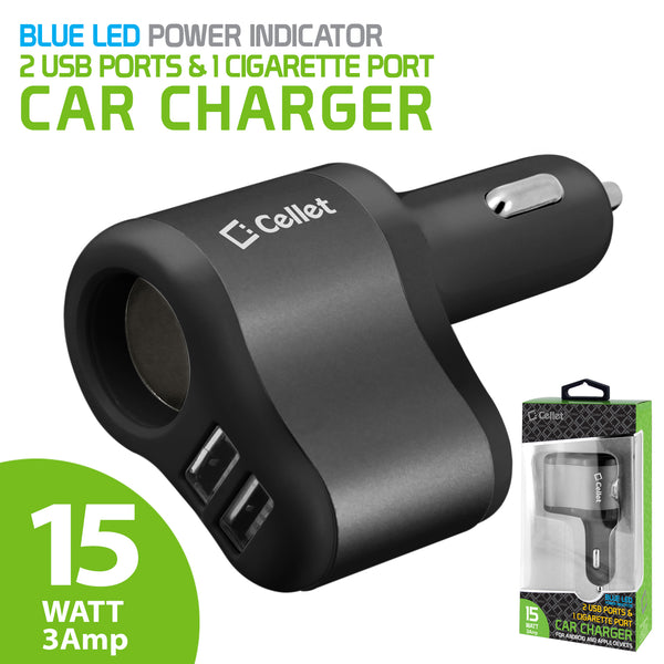 PUSBDC3ABK - Cellet 3 in 1 Car Charger with 2 USB Ports and 1 Car Socket Lighter Adapter - Black/Space Gray