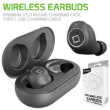 EB600BK - Cellet Wireless Earbuds, Premium V5.0 In-Ear Wireless Earbuds with Charging case, Voice Notifications and Built-in Microphone and Type C USB charging cable Compatible to Wireless Enabled Devices - Black