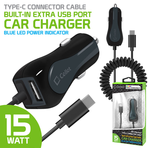PUSBC32 - Cellet High Powered 3 Amp / 15 Watt Type-C USB Car Charger with Extra USB Port  & Attached 6ft coiled cable