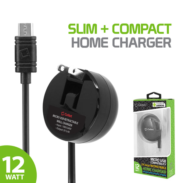 TCMICROR24 - Cellet High Powered 2.4A/12W Retractable Micro USB Home Charger for Android Devices