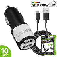 PUSB10W- High Power Dual USB Car Charger, Cellet 2.1A/10W Dual USB Car Charger (Type-C Cable Included) - White