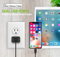 TCAPP824HBK - UL Certified Home Charger for Apple Devices, 12 Watt (2.4Amp) Home Charger with Dual Ports and 3.3 ft. Apple MFI Certified Lightning Cable compatible to iPhone XS Max, XS, XR, X, 8/8 Plus, iPad, iPad Mini 4/3/2 and more - Black