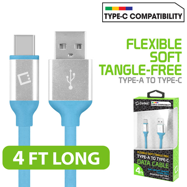 DCA4BL - Flexible / Soft / Tangle-Free Type A to type C Data cable - Blue - by Cellet
