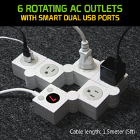 TP900BK - Cellet 4-Outlet Flexible Power Strip With Timer and ON and Off Button, Dual USB Charging Ports(5V/2.1A) 1200W/10A 5ft Cord , Perfect for Computers, Smartphones, Tablets, and Other Devices - Black