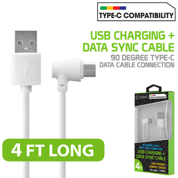 DCA904WT - Cellet Micro USB 90 Degree Type C Data Cable Connection for Samsung Galaxy S8 Edge, Samsung Galaxy 8 Edge, Galaxy J7, LG G6,  and other android devices White