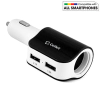 PUSBDC2BK - Cellet Universal High Power 15 Watt / 3.1 Amp Dual USB Car Charger - Black/White