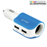 PUSBDC2BL - Cellet Universal High Power Dual USB Port & Cigarette port 15W / 3.1Amps Dual USB Car Charger - Blue/White