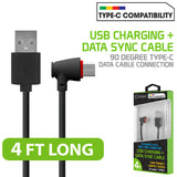 DCA904BK - USB C to USB-A Cable with 90 Degree Connector 4 Feet Charging & Data Sync Cable