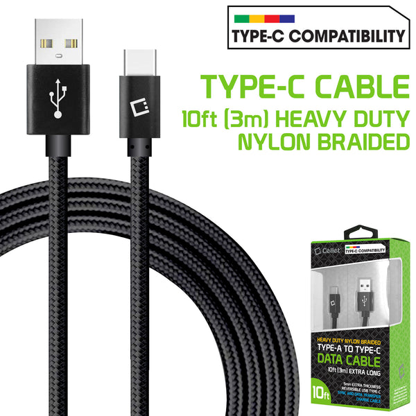DCA1020BK - 10 Ft Durable Nylon Braided Type C Data Transfer & Sync Fast Charge Cable 2.5 Amp