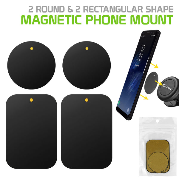 CLCMETALP2 - 4 Heavy Duty Phone Mount Magnets - 2 Rectangle & 2 Round Magnets