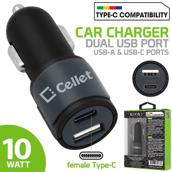 PUSBC21- Cellet Universal High Power 10W / 2.1A Dual USB A & USB C Port Car Charger