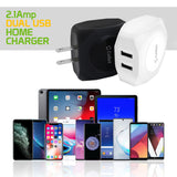 TANN220WT - Cellet Dual USB Home Charger, 10 Watt / 2.1 Amp Wall Charger for Apple iPhone X, 8, 8 Plus, iPad Pro, iPad Mini 4, Samsung Galaxy Note 8, Galaxy S8, S8 Plus, etc.-Cable Sold Separately- White