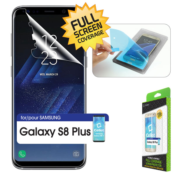 SUSAMS8P - Samsung Galaxy 8 Plus Full Coverage Screen Protector with Applicator, Cellet Full Coverage Screen High Density Polyurethane Protector with Easy and Perfect-Fit with Applicator for Samsung Galaxy 8 Plus