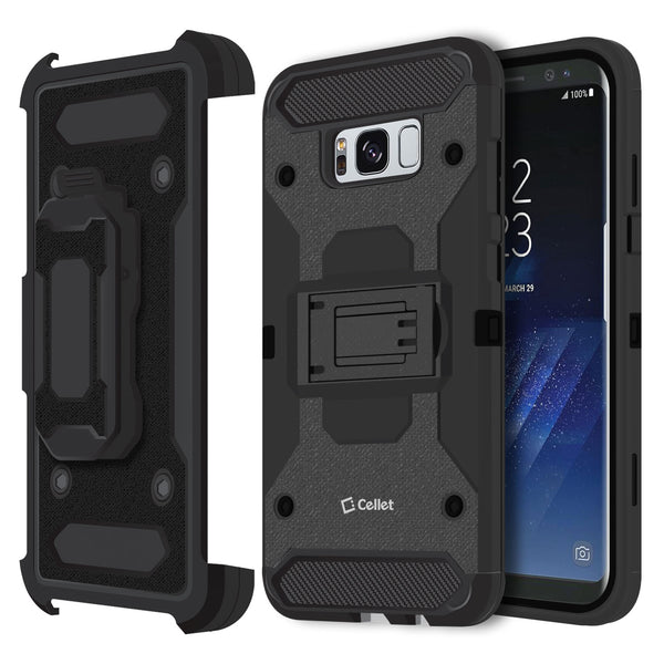 CCSAMS8PVBK - Samsung Galaxy S8+ Heavy Duty Combo Case with Holster, Holster Shell + Kickstand - Black