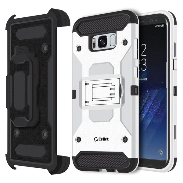 CCSAMS8PVWT - Samsung Galaxy S8+ Heavy Duty Combo Case with Holster, Holster Shell + Kickstand - White