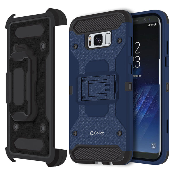CCSAMS8PVBL - Samsung Galaxy S8+ Heavy Duty Combo Case with Holster, Holster Shell + Kickstand - Navy Blue