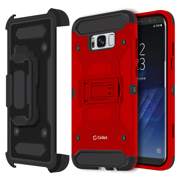 CCSAMS8PVRD - Samsung Galaxy S8+ Heavy Duty Combo Case with Holster, Holster Shell + Kickstand - Red