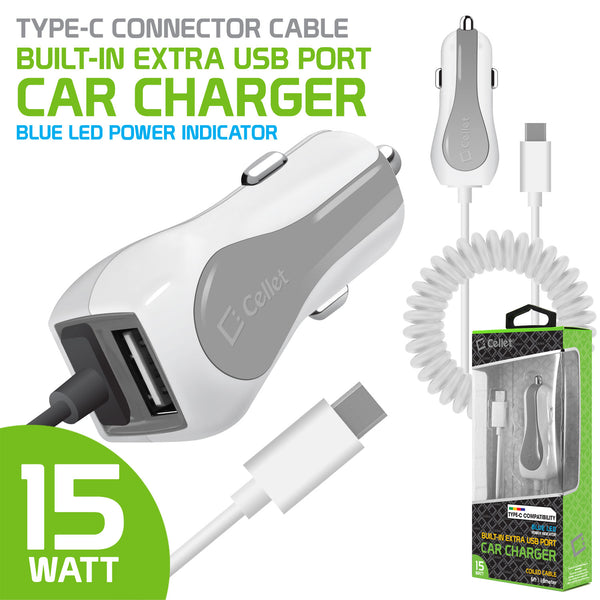 PUSBC32WT - Cellet High Powered 3 Amp / 15 Watt Type-C USB Car Charger with Extra USB Port – White