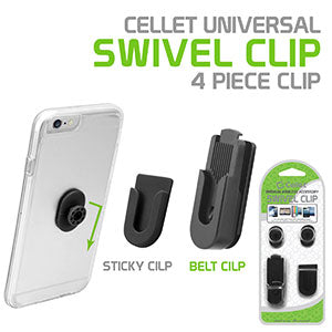 CLIP4BLACK2 - Universal Swivel 4 Piece Clip System for Apple iPhone X, 8, 8 Plus, Samsung Galaxy Note 8, iPad Pro, iPad Mini, GPS and More – by Cellet