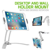 PHTAB43CNWT - Desktop and Wall Holder Mount with 360 Degree Rotation for Apple iPad Pro 10.5, Pro 9.7, IPad Mini 4, Samsung Galaxy Tab S3, Amazon Fire HD and More - White - by Cellet