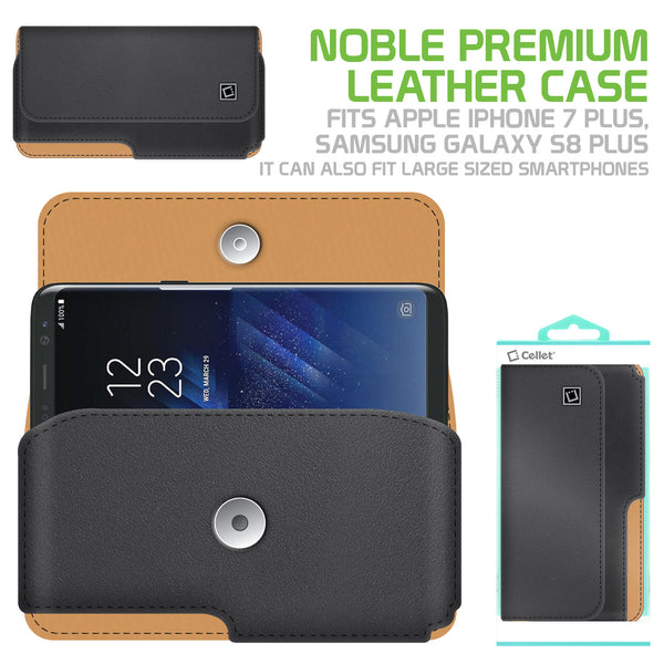NOBLEP7A - Cellet Noble Premium Leather Case for Samsung Galaxy Note 8, Galaxy S8, iPhone 8/7/6 Plus with heavy duty HM 360 degree swivel clip