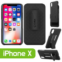 HLIPHX- Shell Holster Kickstand Case with Spring Belt Clip for Apple iPhone X – Black – by Cellet